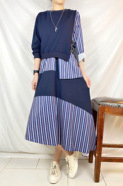 Mixed Fabric Striped Dress (pre order)