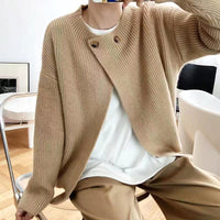 Overlapping Collor Knit Cardigan (3 colours) (pre order)