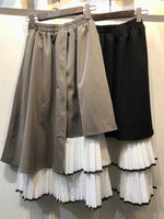 Mixed Fabric Layered Skirt (2 colours) (pre order)