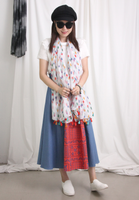 Mixed Fabric Demin Skirt
