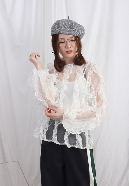 (Korean) Ruffle Trim See Through Lace Top