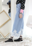 (Korean) Lace Hem Jeans