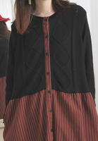Knit Top Pinstriped Dress / Long Jacket