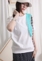 (Korean) Checker Fabric Mix & Mesh Ruffle Trim Tee – White, TOP, KOREAN, Drive Store