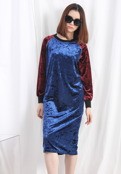 (Korean) 2 Tone Velvet Dress
