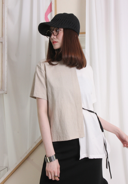 (Korean) Half Half Mixed Fabric Top