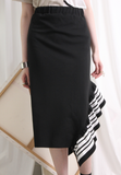 (Korean) Asymmetric Stripe Ruffle Hem Stiff Jersey Fabric Skirt, SKIRT, KOREAN, Drive Store