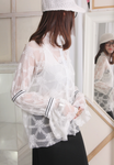 (Korean) Floral Lace Trumpet Sleeves Blouse