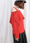 (Korean) Cool Shoulder Layered Top – Brick Red, TOP, KOREAN, Drive Store