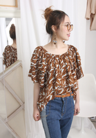 Tropical Leaf Print Frill Sleeves Top