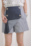 Striped Mixed Denim Shorts