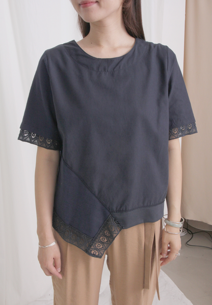 Mixed Fabric Embroidered Top
