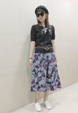 Floral Printed Pleated Skirt