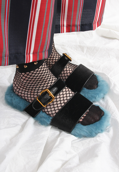 (Korean) Faux Fur Slippers – Blue