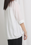 Mixed Fabric Chiffon Top (2 colours)