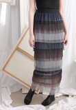 Multi Color Mesh Tiered Skirt