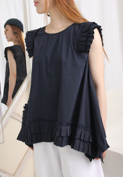 Pleated Trims Asymmetric Hem Vest
