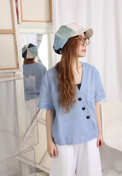 V-Neck Bias Button Closure Top
