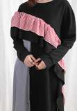 (Korean) Ruffle Trim Oversized Sweat Dress