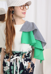 Asymmetric Mixed Fabric Layered Sleeves Top