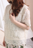 Picot Collar Lace Top