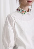 Embroidered Collar Puff Sleeves Shirt