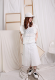 Frill Trim Sleeves Cotton Lace Top