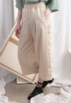 (Korean) Chiffon Ruffle Side Trims Wide Legs Trousers – Beige, BOTTOMS, KOREAN, Drive Store