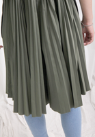 Mixed Fabric Pleated Dress