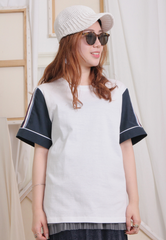 (Korean) 2 Tone Raglan Sleeves Top – Pale Green/ Dirty Pink