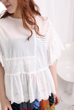 Ruffled Sleeves Patchwork Floral Lace Trim Top
