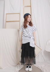 Asymmetric Knotted Striped Blouse