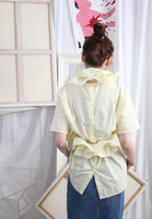 (Korean) Detachable Ruffle Trim Blouse – Pale Yellow