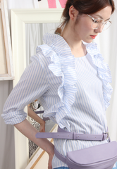 Ruffle Trim Pinstriped Blouse