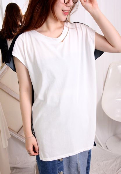(Korean) Double V-Neck Silky Blouse With Criss-Cross Back