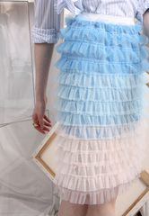 (Korean) Ombre Tiered Mesh Skirt