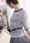 (Korean) Contrast Trims Floral Lace Top, TOP, KOREAN, Drive Store