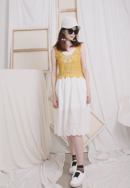 (One Piece) Picot Top with Embroidery Bottom Dress