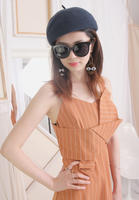 (One Piece) Pinstriped Front Twist Sling Dress