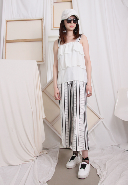 (Two Piece) Chiffon Sling Top with Trousers Set