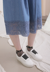 Cropped Denim Cluottes with Embroidery Hem