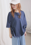 3D Side Knot Dolman Sleeves Jersey Fabric Top