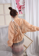 (Korean) Ruched Sleeves Semi Sheer Bomber Jacket – Peach