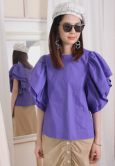 Frill Layered Butterfly Sleeves Top