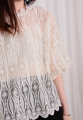 Picot Collar Lace Top with Puff Sleeves