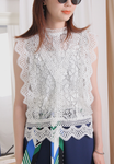 (Korean) Embroidered Lace Vest