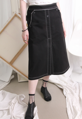 (Korean) Contrast Stitch Canvas Fabric Skirt – Black, BOTTOMS, KOREAN, Drive Store