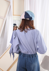 (Korean) Bow Decorated Open Arm Pinstripe Blouse, TOP, KOREAN, Drive Store