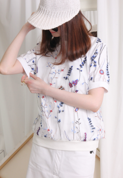 (Korean) Floral Embroidery Mesh Layered Top