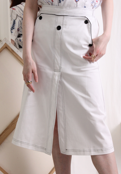 (Korean) Contrast Stitch Canvas Fabric Skirt – White